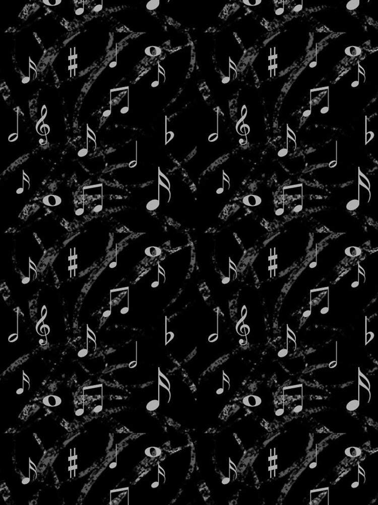 Grey and Black Music Notes Pattern by HavenDesign