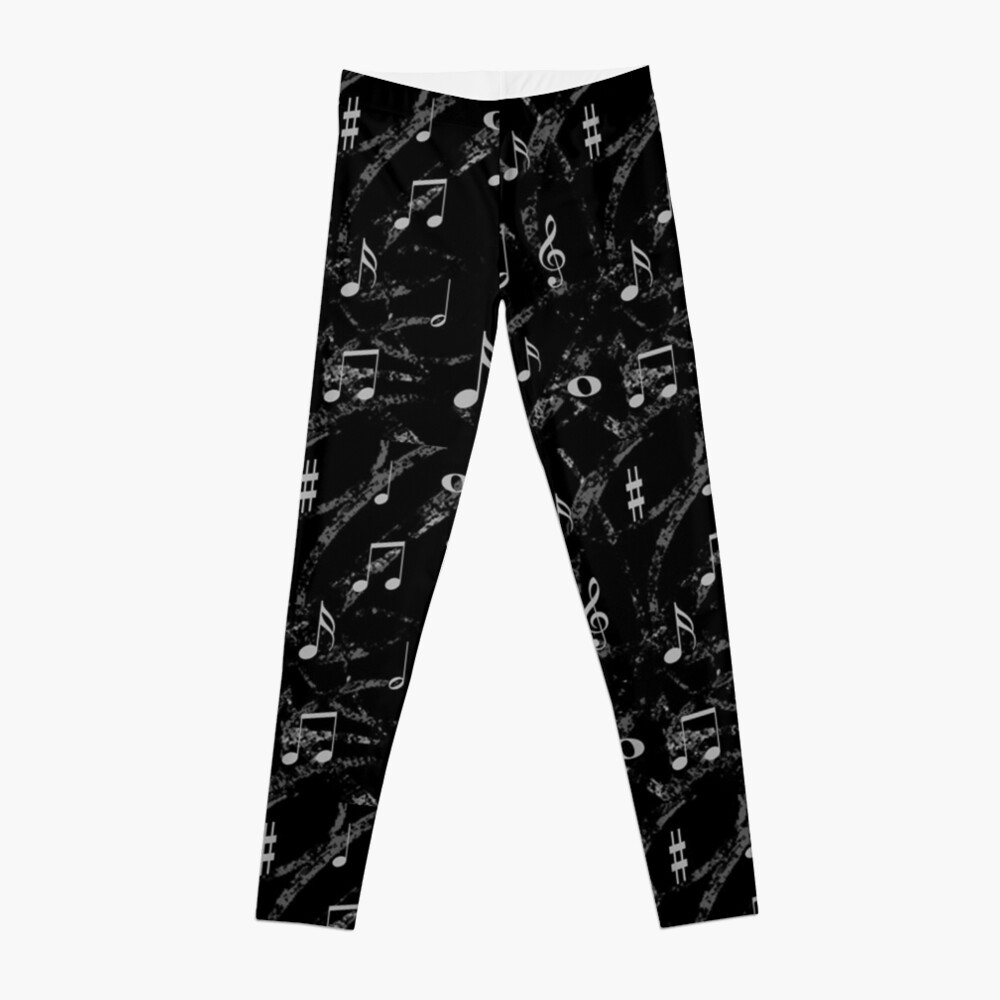 Grey and Black Music Notes Pattern Leggings