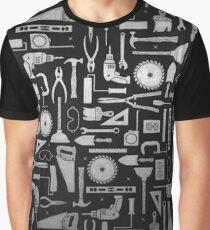Black & Silver Workshop Tools Graphic T-Shirt