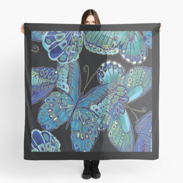 Teal and Black Butterfly Pattern Scarf