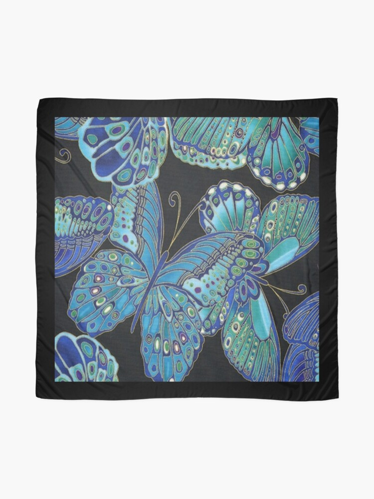Alternate view of Teal and Black Butterfly Pattern Scarf