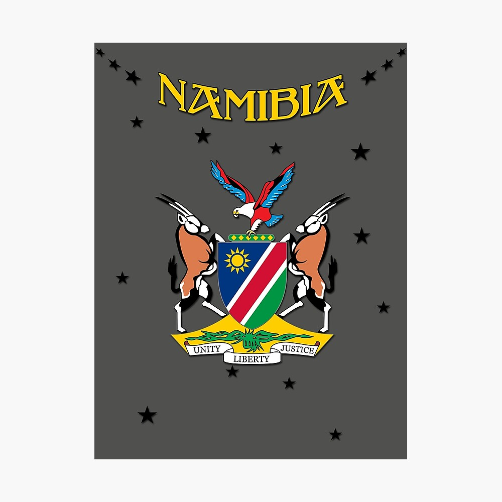 Namibia Africa Coat Of Arms Flag Design Poster By Lemmy666 Redbubble