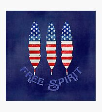 American Flag Stars and Stripes Free Spirit Feathers Photographic Print