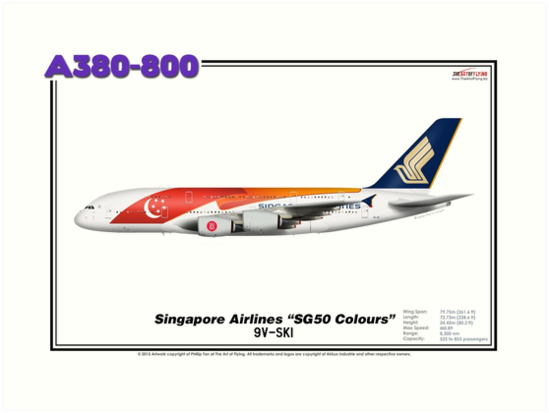"""Airbus A380-800 - Singapore Airlines """"SG50"""" (Art Print) by TheArtofFlying"""