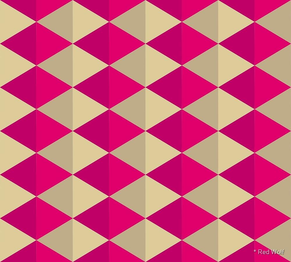 Geometric Pattern: Split Diamond: Pink by * Red Wolf