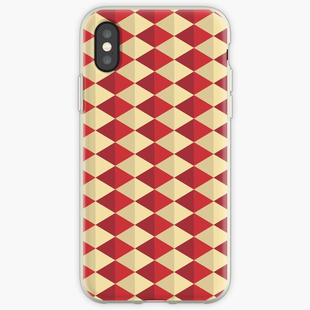 Geometric Pattern: Split Diamond: Red iPhone Case & Cover