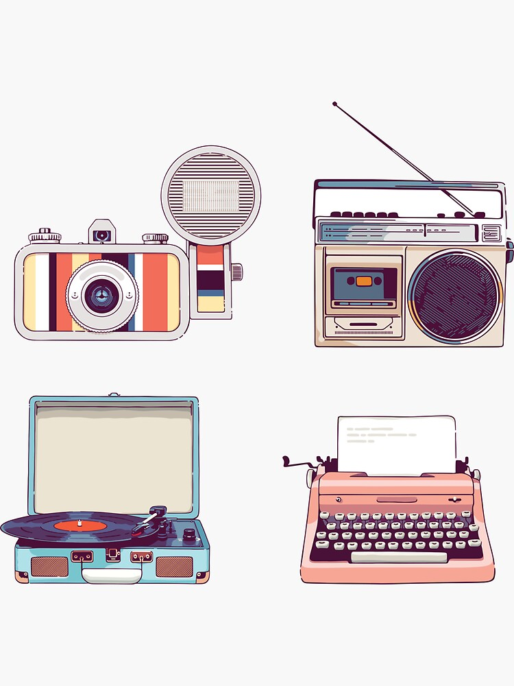 Go Analog Retro Sticker Set Hipster Style by sundrystudio