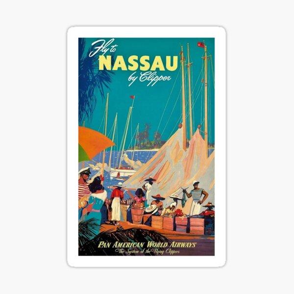 Vintage Bahamas Travel Poster Sticker
