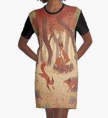 Fox Family - Fall Graphic T-Shirt Dress