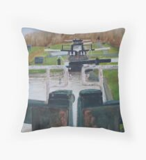 Looking down Hurleston locks from lock No 2 Throw Pillow