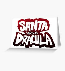"""Santa vs Dracula"" Graphic Novel logo Greeting Card"