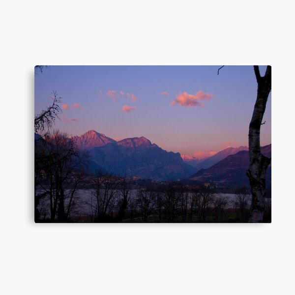 sunset on the alpes Canvas Print