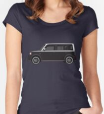 Vectored Boxcar Two Tone Silver/Black Women's Fitted Scoop T-Shirt