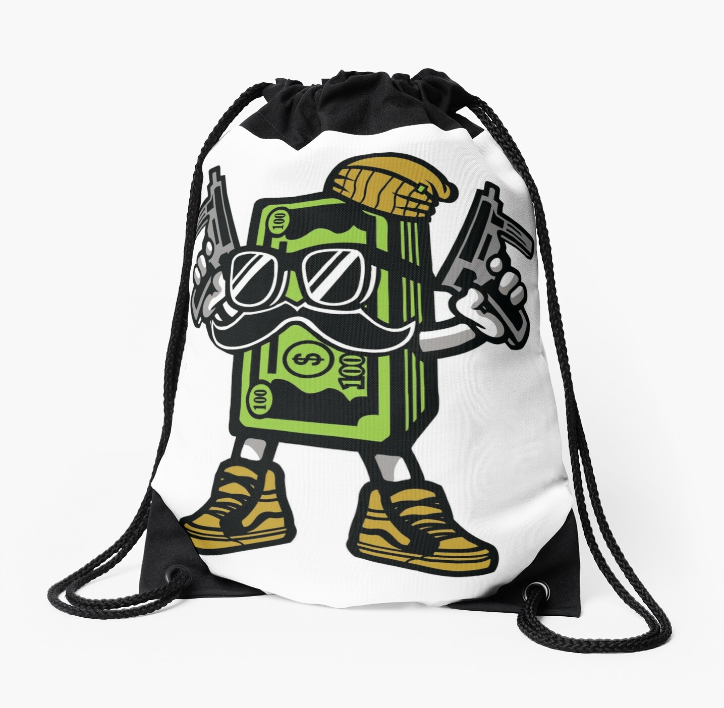 "Bag With Money Sign Cartoon: ""Gangster Cash Money Cartoon Character"" Drawstring Bags By"