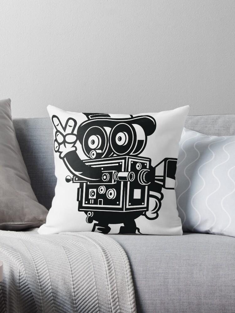 movie maker camera man cartoon character throw pillows by