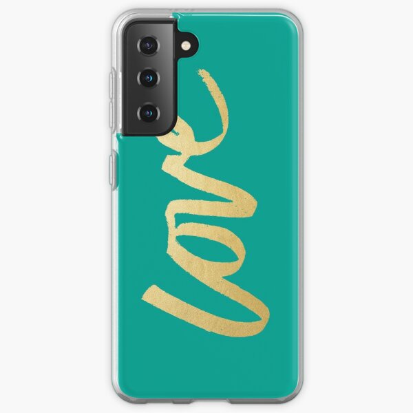 Love Gold Turquoise Brush Type Samsung Galaxy Soft Case