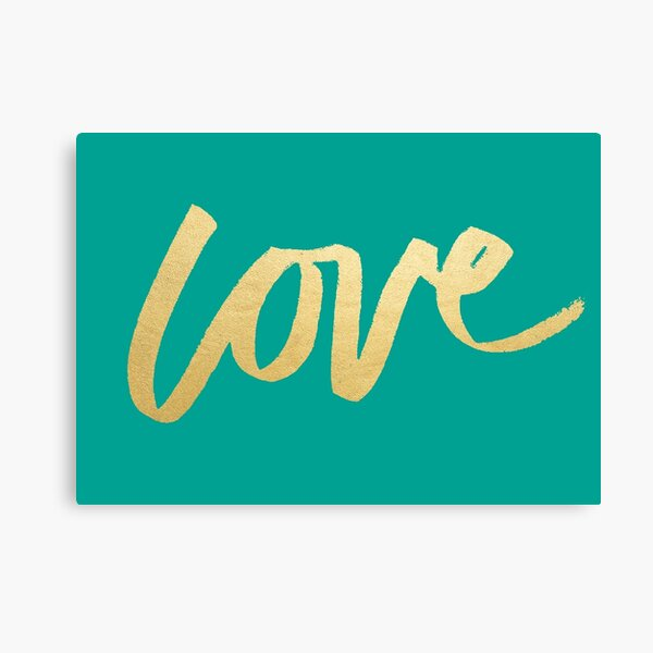 Love Gold Turquoise Brush Type Canvas Print