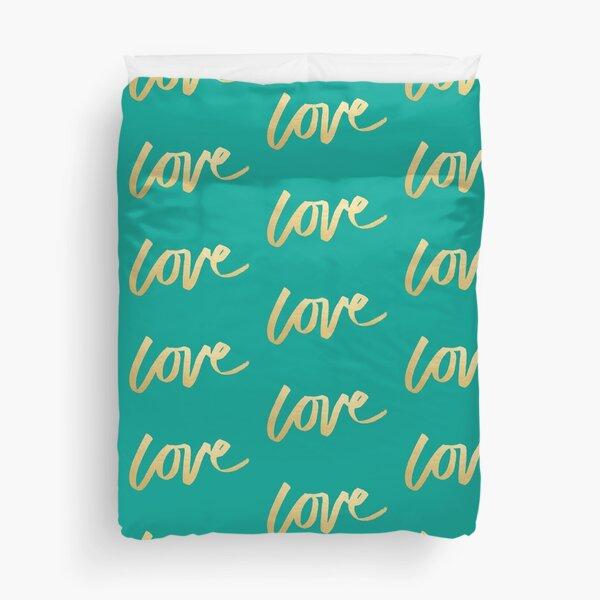 Love Gold Turquoise Brush Type Duvet Cover