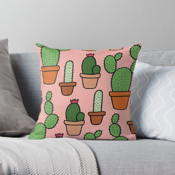 Pink Cactus Pattern Throw Pillow