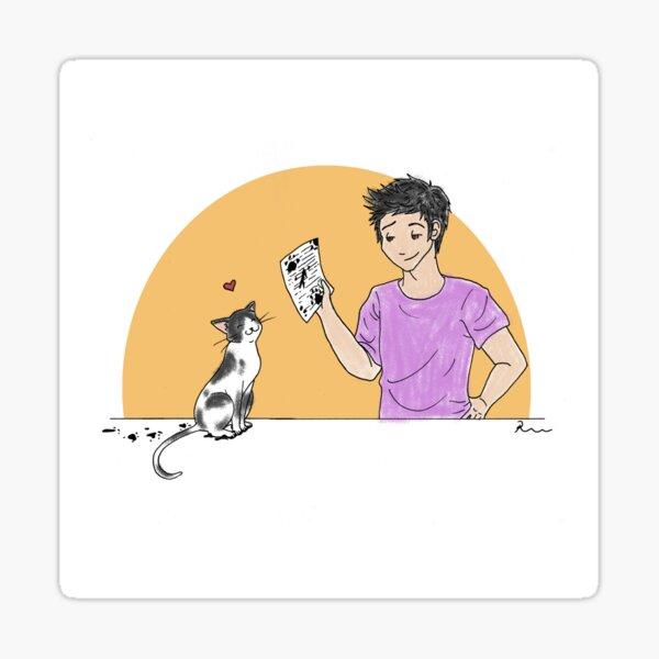 Paper Cat Sticker