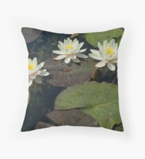White Lillies-0256 Walled Garden, Penrhyn Castle, Wales Throw Pillow