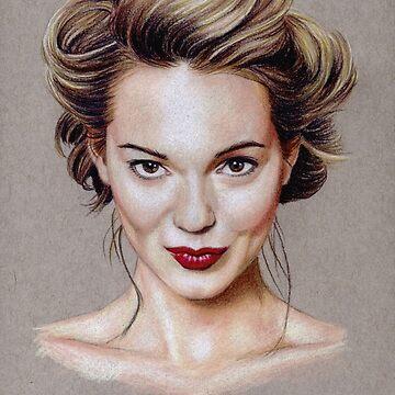 Kara Tointon coloured pencil portrait by wu-wei