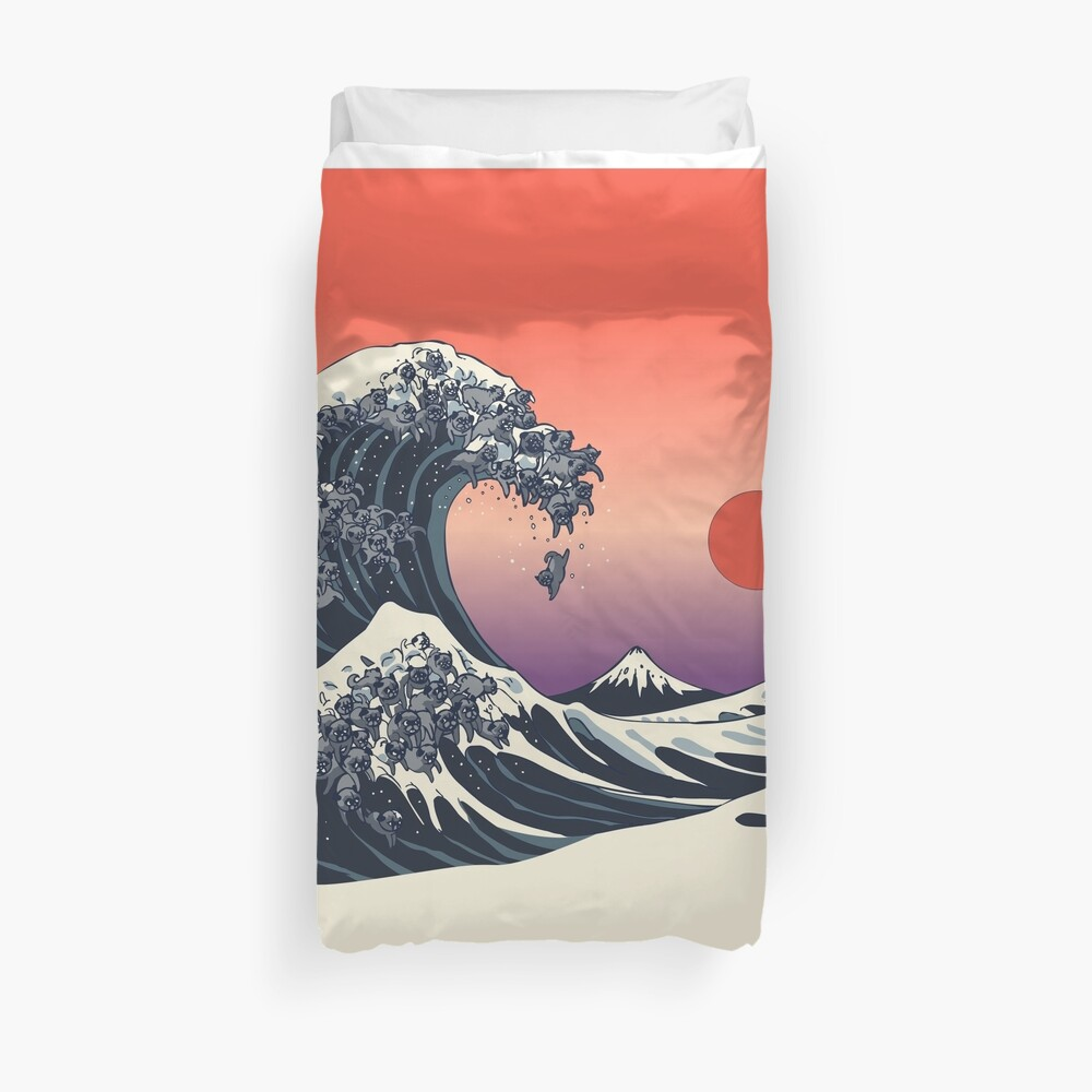 The Great Wave of Black Pugs Duvet Cover