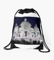 Sacre Coeur Cathedral Paris Night People Drawstring Bag
