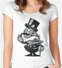 Vintage Stereo Cartoon Character Women's Fitted Scoop T-Shirt