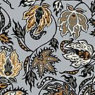 Protea Batik Hawaiian Tropical Floral - Silver by DriveIndustries
