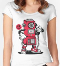 Vintage Telephone Cartoon Character  Women's Fitted Scoop T-Shirt