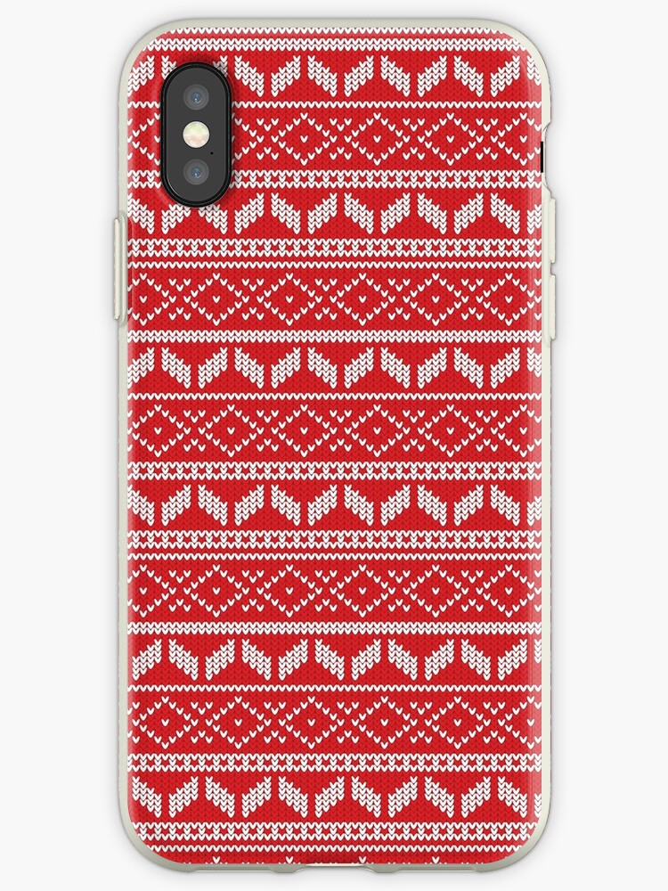 Christmas Sweater Pattern.Ugly Christmas Sweater Pattern Design Red And White Iphone Case By Bazzadesigns