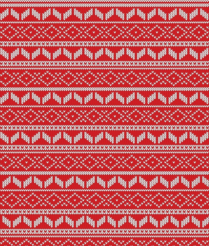 Ugly Christmas Sweaters Patterns.Ugly Christmas Sweater Pattern Design Red And White Art Print