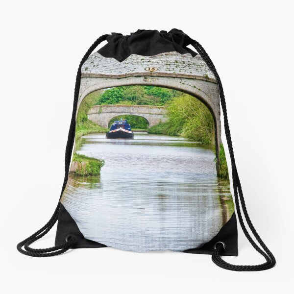 Narrowboat Through the Arches Drawstring Bag