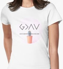 Christian Quote - God Is Higher Than Highs And Lows - Cactus - Dusty Pink  T-Shirt
