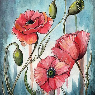 Poppy Flower Painting by Ela Steel by elasteel