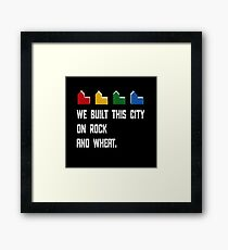 WE BUILT THIS CITY ON ROCK AND WHEAT Settlers of Catan game white distressed Framed Print
