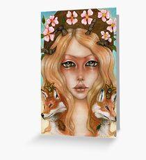 Solstice fox woman portrait Greeting Card