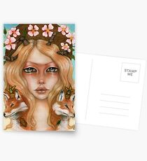 Solstice fox woman portrait Postcards