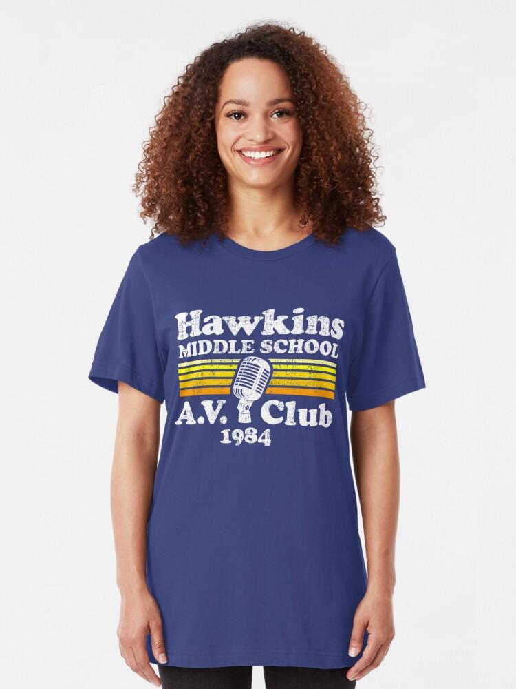 Alternate view of Hawkins Middle School A.V. Club Slim Fit T-Shirt
