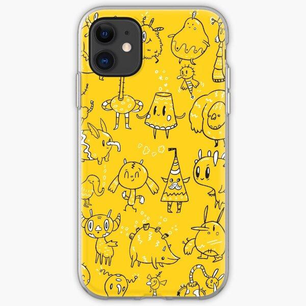 Random Creatures on yellow iPhone Soft Case