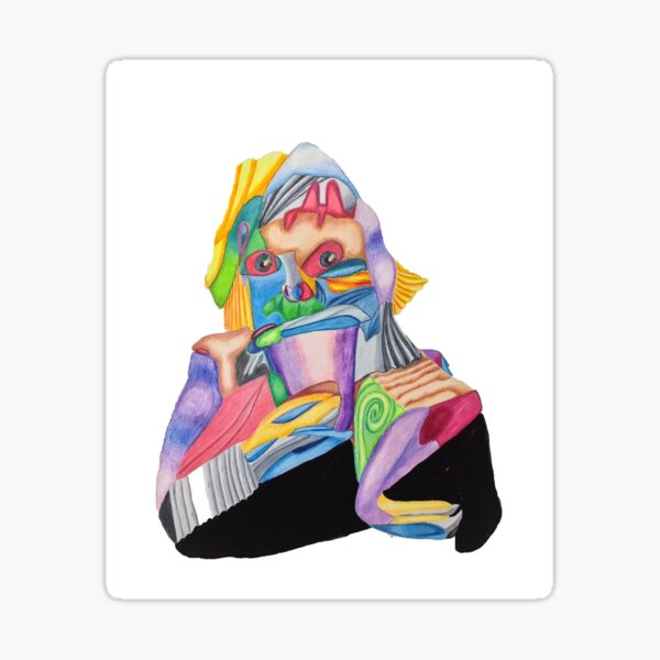 Fractured Portrait of Lena with Coffee Cup Sticker