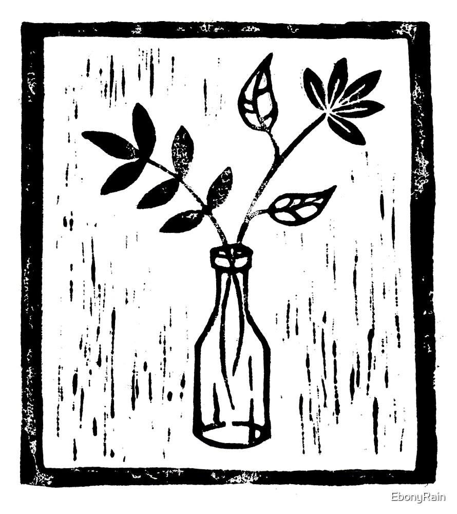 lino print flowers in a bottle by ebonyrain redbubble