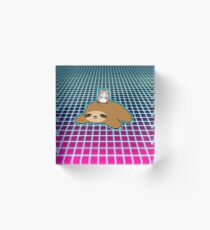 Hamster and Sloth Vaporwave Acrylic Block