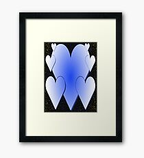 Blue Hearts-Available As Art Prints-Mugs,Cases,Duvets,T Shirts,Stickers,etc Framed Print