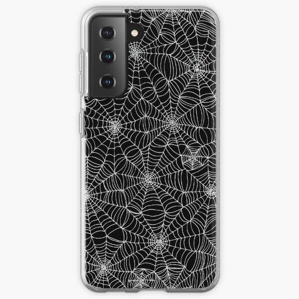 Spider web pattern - white on black by Cecca Designs Samsung Galaxy Soft Case