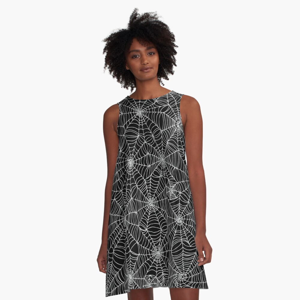 Spider web pattern - white on black by Cecca Designs A-Line Dress