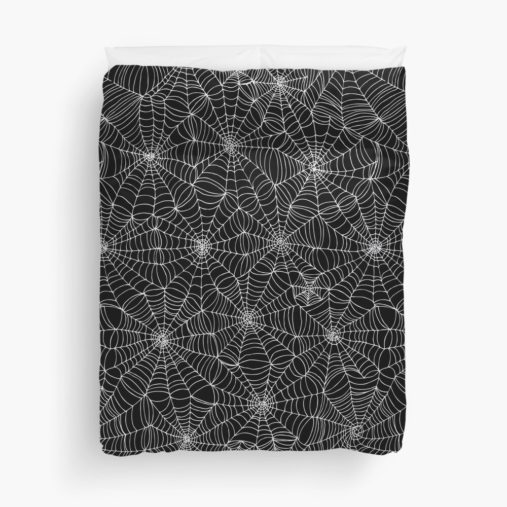 Spider web pattern - white on black by Cecca Designs Duvet Cover