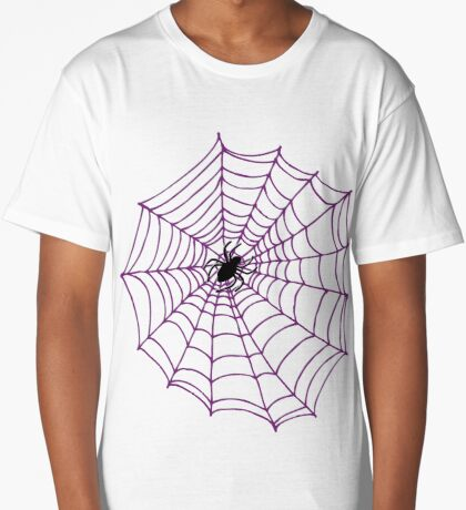 Spider web pattern - white on black by Cecca Designs Long T-Shirt