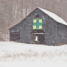 Barn in Snow Storm by Kent Nickell